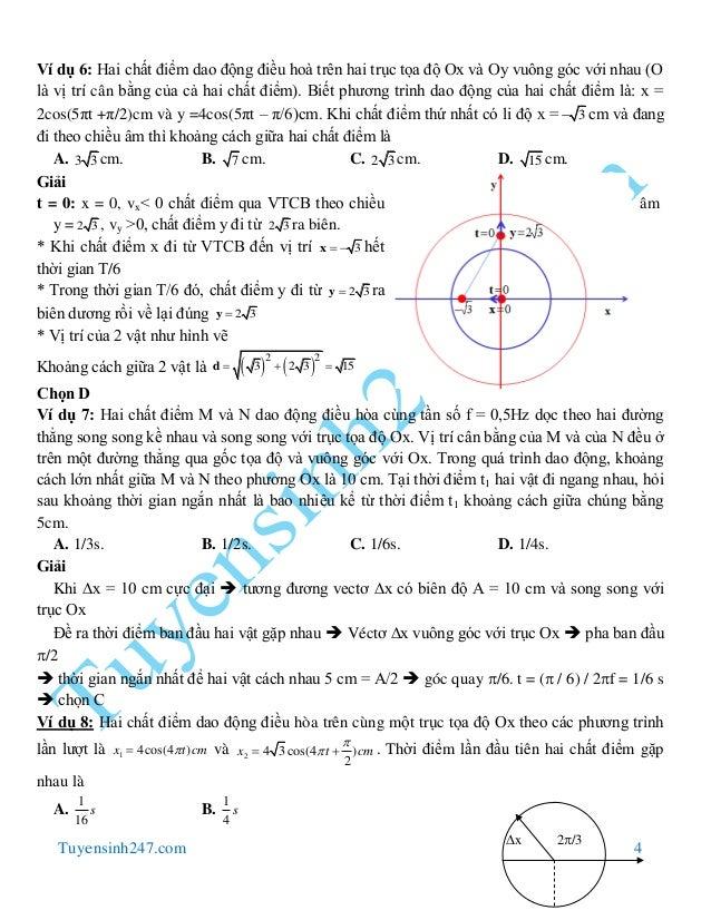 Tuyensinh247.com 4 Ví dụ 6: Hai chất điểm dao động điều hoà trên hai trục tọa độ Ox và Oy vuông góc với nhau (O là vị trí ...