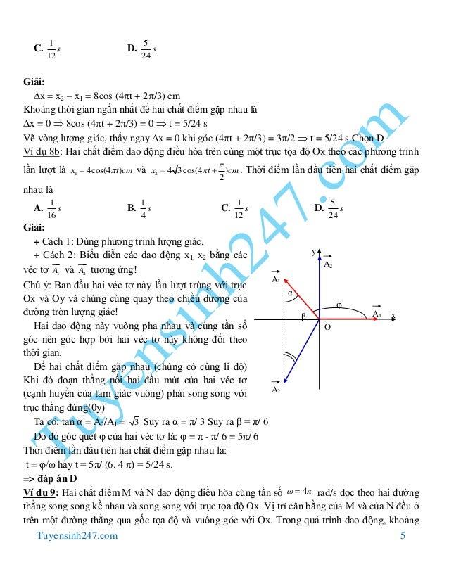 Tuyensinh247.com 5 C. D. Giải: x = x2 – x1 = 8cos (4t + 2/3) cm Khoảng thời gian ngắn nhất để hai chất điểm gặp nhau là...