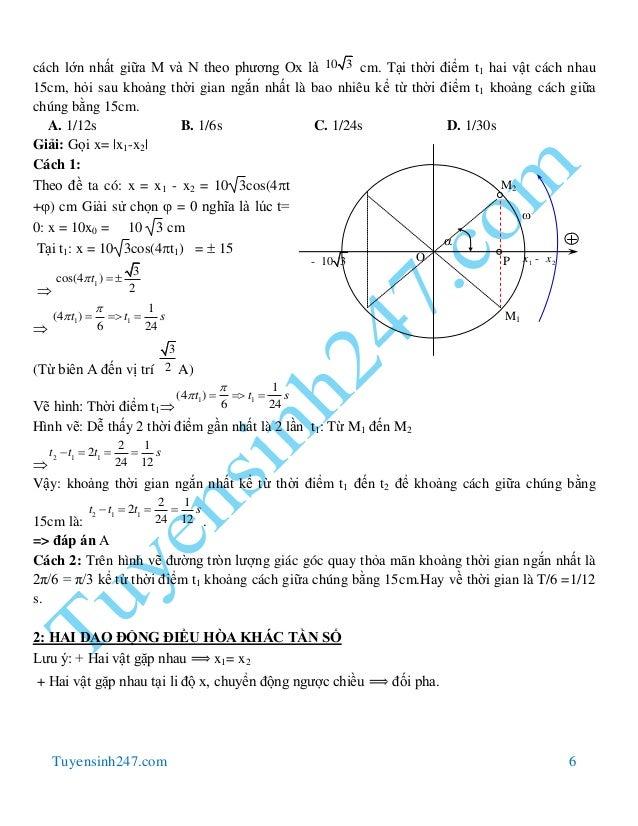 Tuyensinh247.com 6 cách lớn nhất giữa M và N theo phương Ox là 10 3 cm. Tại thời điểm t1 hai vật cách nhau 15cm, hỏi sau k...