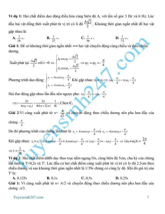 Tuyensinh247.com 7 Ví dụ 1: Hai chất điểm dao động điều hòa cùng biên độ A, với tần số góc 3 Hz và 6 Hz. Lúc đầu hai vật đ...