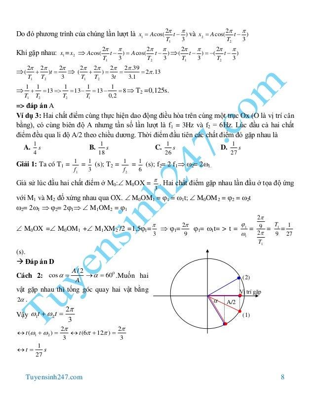 Tuyensinh247.com 8 Do đó phương trình của chúng lần lượt là 1 1 2 cos( ) 3 x A t T     và 2 2 2 cos( ) 3 x A t T   ...