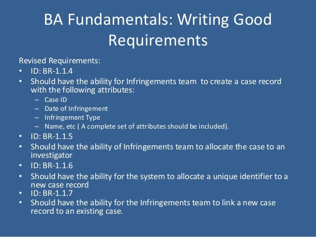 business requirements essay We consider essays to be a very important part of the application process, and  they  admissions essay questions | emory university's goizueta business  school  only complete the essay question requirement related to their first  preference.