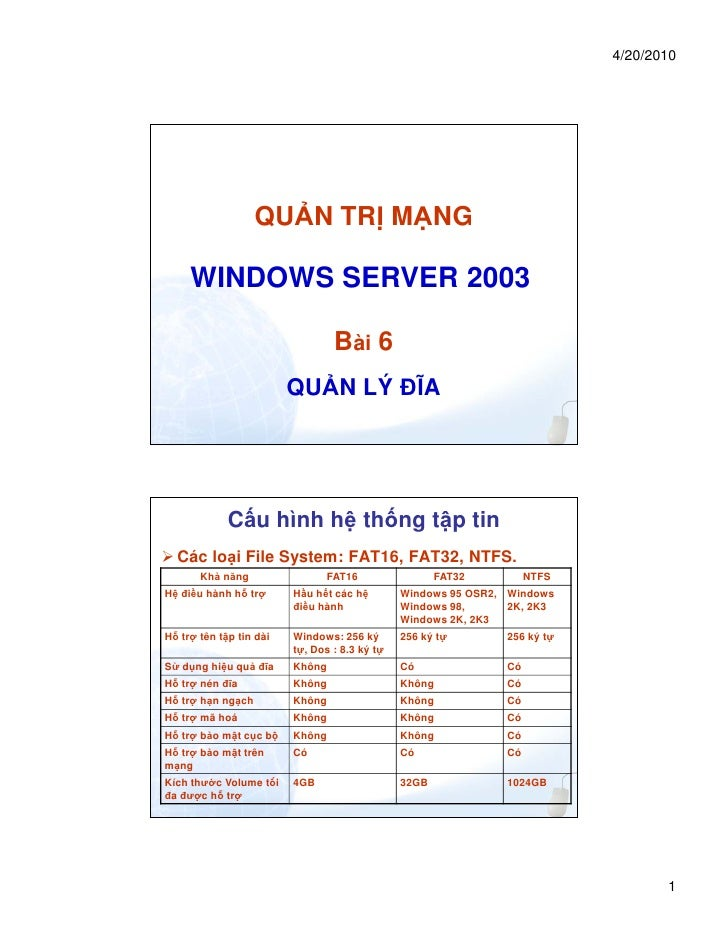 4/20/2010                 QU N TR M NG     WINDOWS SERVER 2003                                  Bài 6                     ...