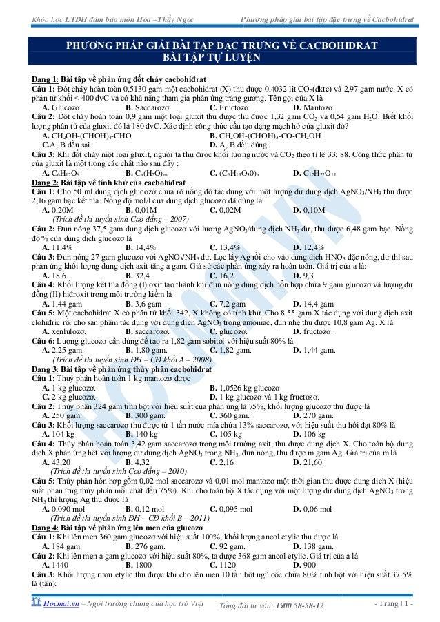 Khóa học LTĐH đảm bảo môn Hóa –Thầy Ngọc Phương pháp giải bài tập đặc trưng về CacbohidratHocmai.vn – Ngôi trường chung củ...