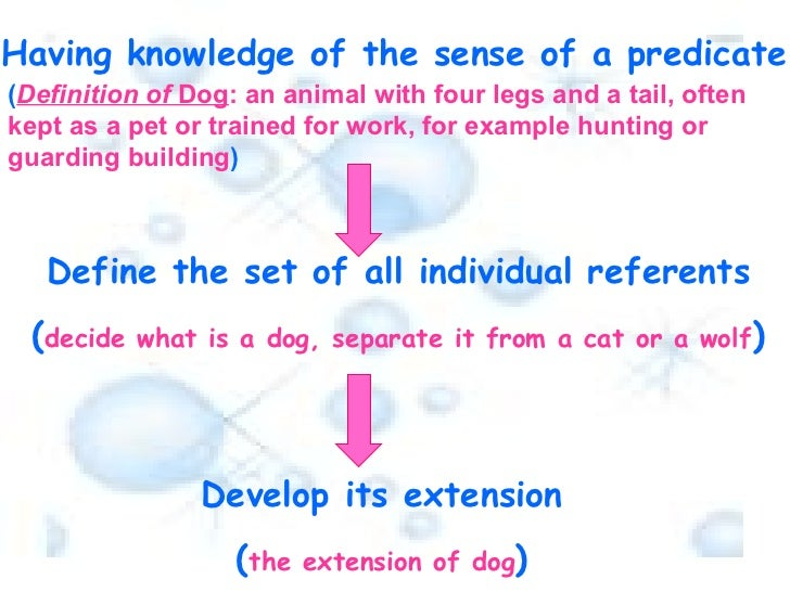 Define the set of all individual referents ( decide what is a dog, separate it from a cat or a wolf ) Develop its extensio...