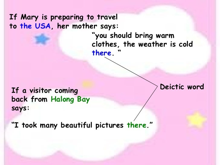 """If Mary is preparing to travel to  the USA , her mother says: """" you should bring warm clothes, the weather is cold  there ..."""
