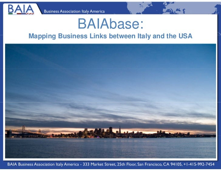 BAIAbase:Mapping Business Links between Italy and the USA