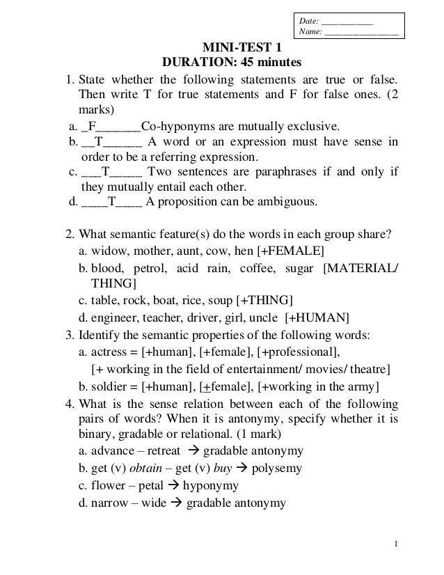 semantics exercises with answers pdf