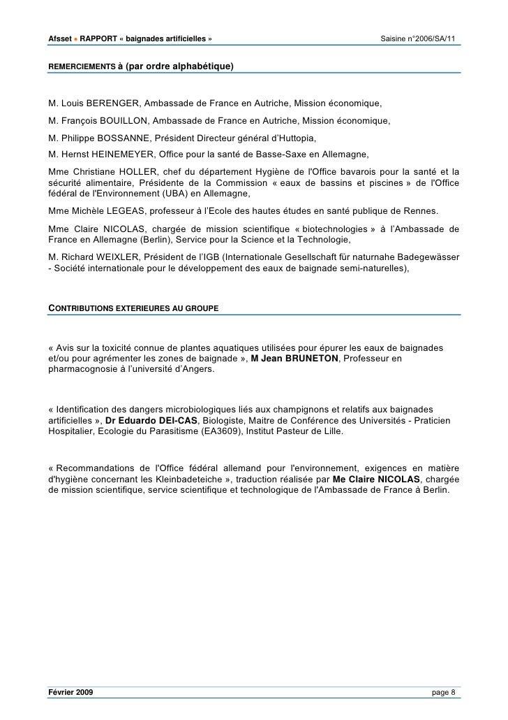 Baignades artificielles avis rapport afsset juillet 2009 - Office federal de l environnement ...