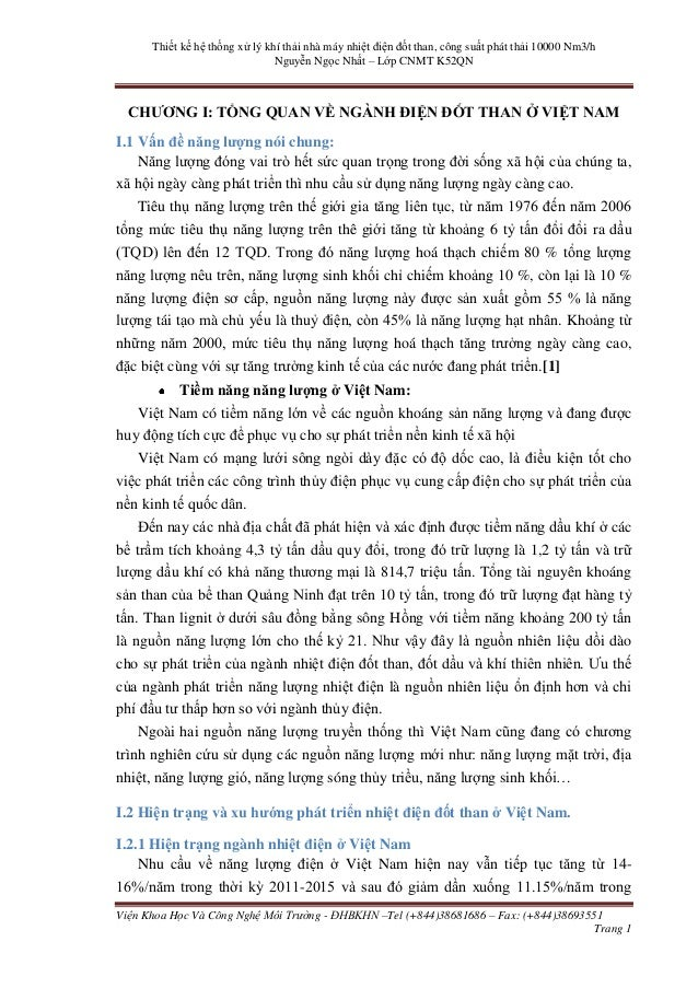 Thiết kế hệ thống xử lý khí thải nhà máy nhiệt điện đốt than, công suất phát thải 10000 Nm3/h Nguyễn Ngọc Nhất – Lớp CNMT ...