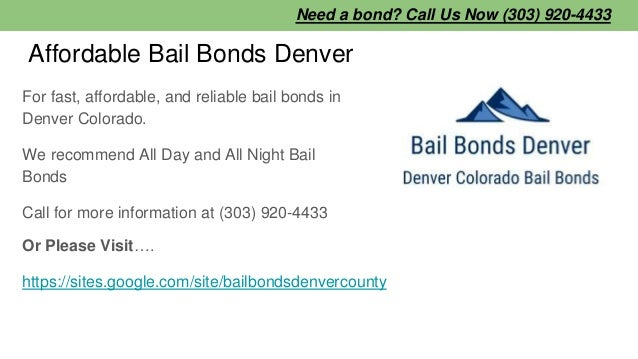 Affordable Bail Bonds Denver For fast, affordable, and reliable bail bonds in Denver Colorado. We recommend All Day and Al...