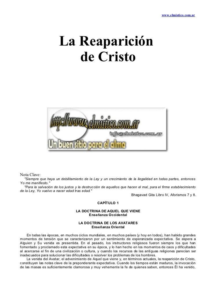 """www.elmistico.com.ar                        La Reaparición                           de CristoNota Clave:  """"Siempre que ha..."""