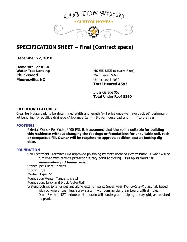 SPECIFICATION SHEET – Final (Contract specs)December 27, 2010Home site Lot # 84Water Tree Landing                         ...