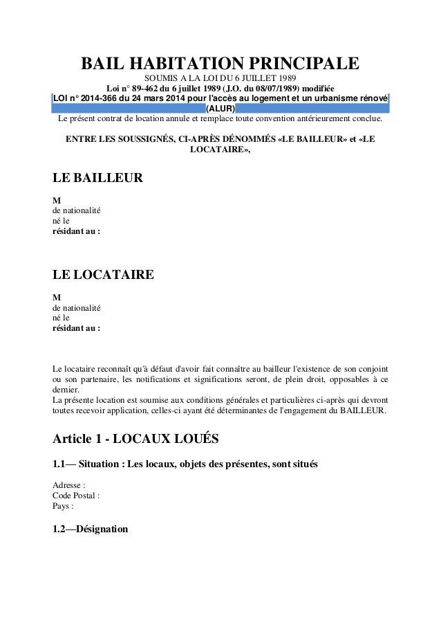 Directe location bail habitation principale 2016 for Bail maison location