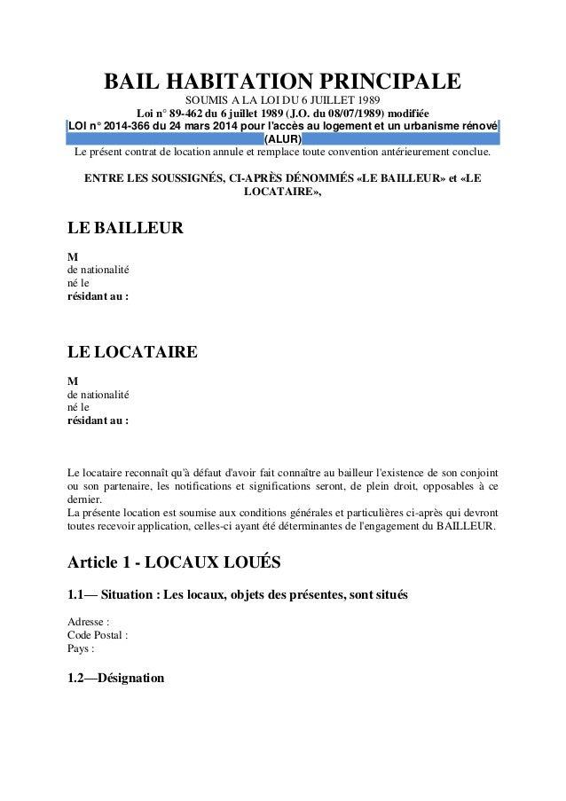 BAIL HABITATION PRINCIPALE SOUMIS A LA LOI DU 6 JUILLET 1989 Loi N° 89  ...