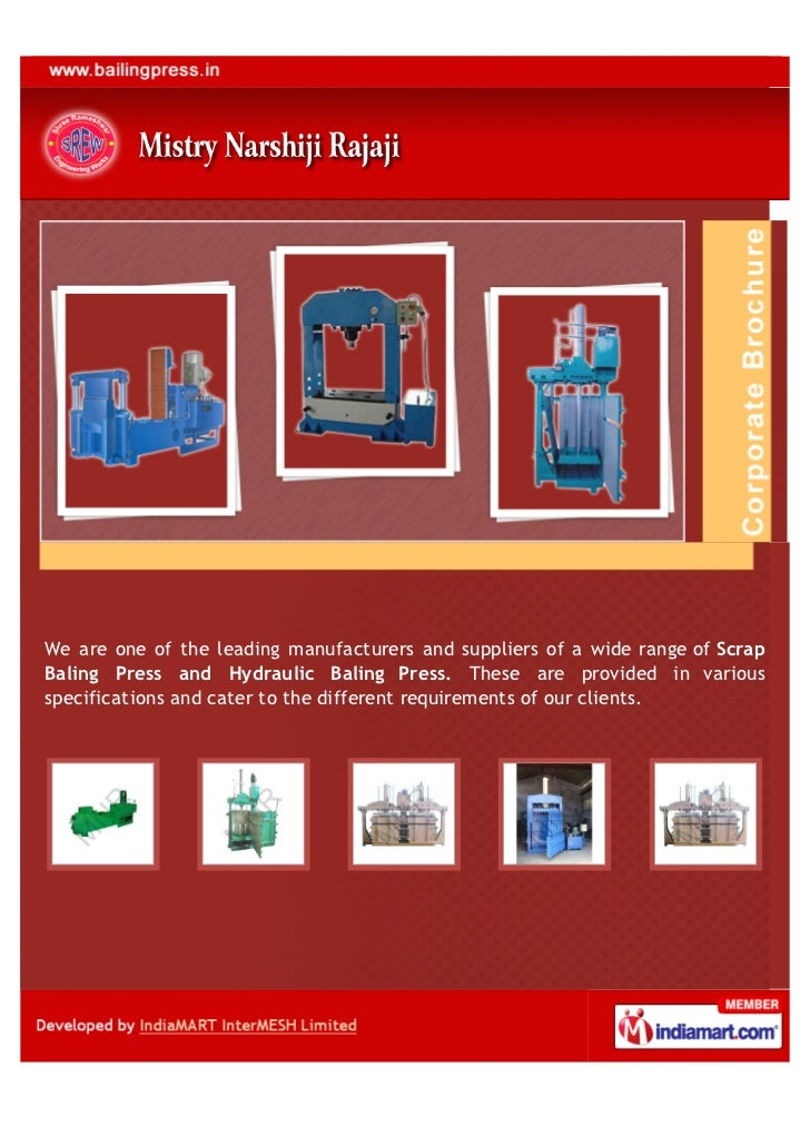 We are one of the leading manufacturers and suppliers of a wide range of ScrapBaling Press and Hydraulic Baling Press. The...