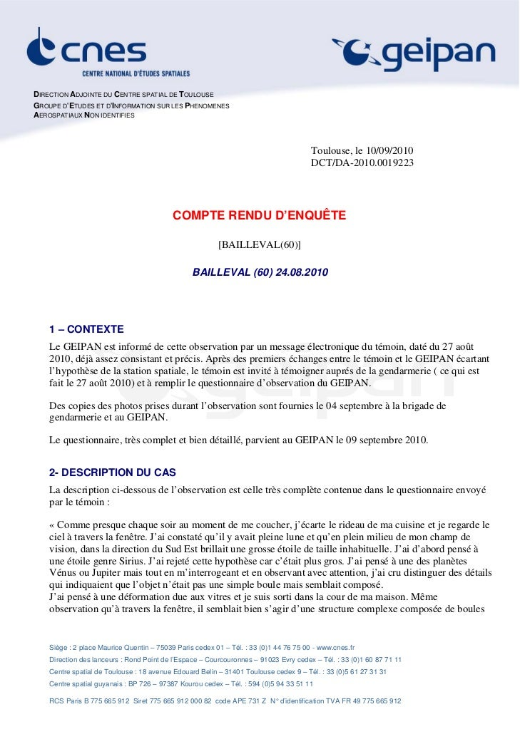 DIRECTION ADJOINTE DU CENTRE SPATIAL DE TOULOUSEGROUPE DETUDES ET DINFORMATION SUR LES PHENOMENESAEROSPATIAUX NON IDENTIFI...