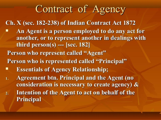 principal agent relationship indian contract act 1872