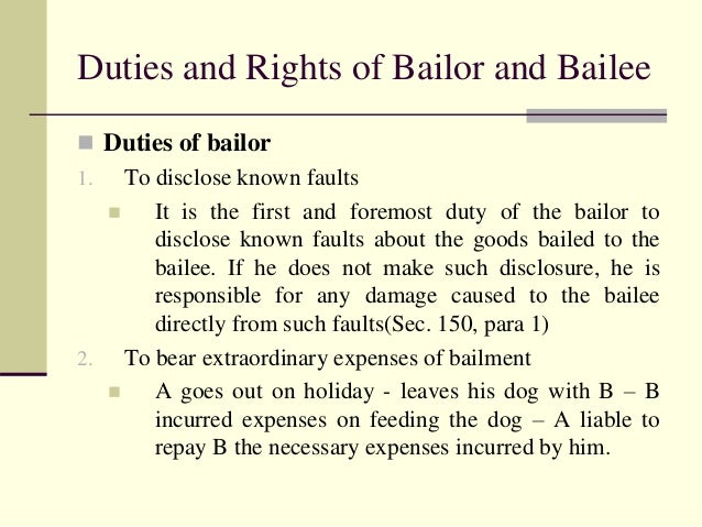 rights and duties of bailor and bailee