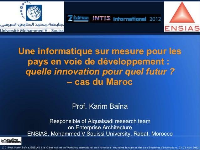 Une informatique sur mesure pour les               pays en voie de développement :              quelle innovation pour que...