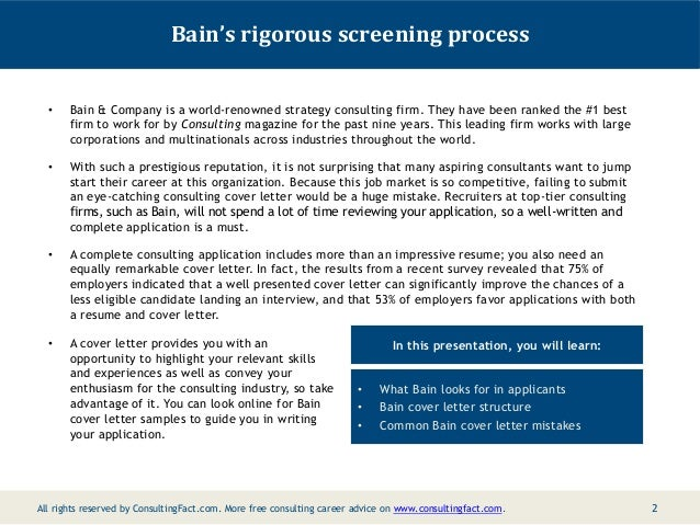 Bain Cover Management Letter Sample Consulting Resume Sample; 2.