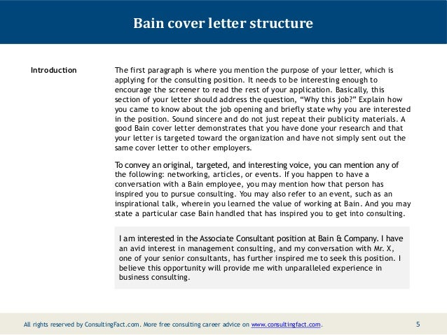 4 5 bain cover letter - Management Consulting Cover Letter Samples