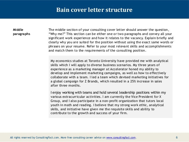 5; 6. Bain Cover Letter ...  Management Consulting Cover Letter