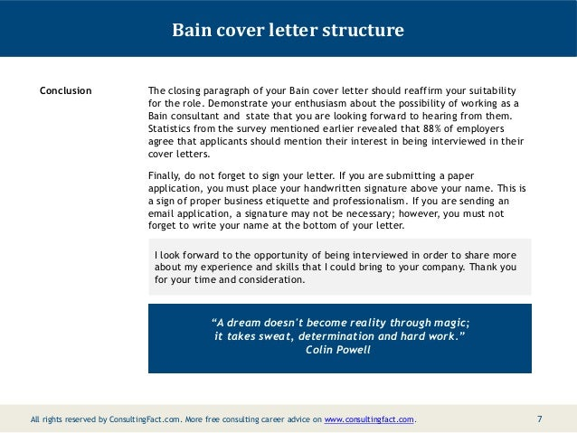 bain cover letter structure conclusion the closing paragraph of your bain cover letter should reaffirm your - Bain Cover Letter