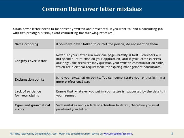 7 8 common bain cover letter - Management Consulting Cover Letter Samples