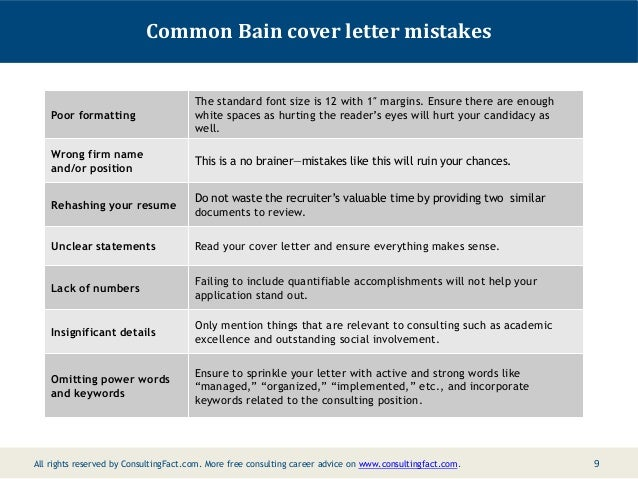 8 9 common bain cover letter mistakes poor - Bain Cover Letter