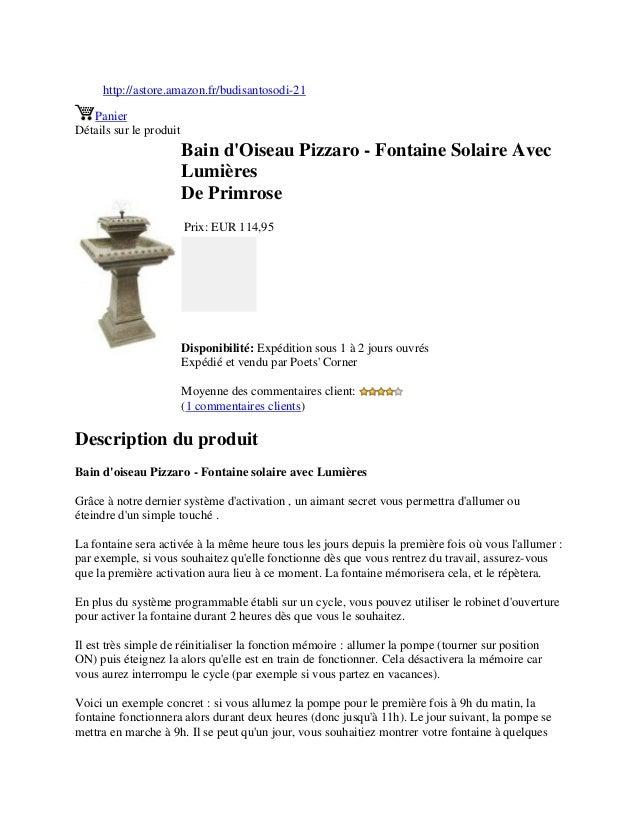 http://astore.amazon.fr/budisantosodi-21PanierDétails sur le produitBain dOiseau Pizzaro - Fontaine Solaire AvecLumièresDe...