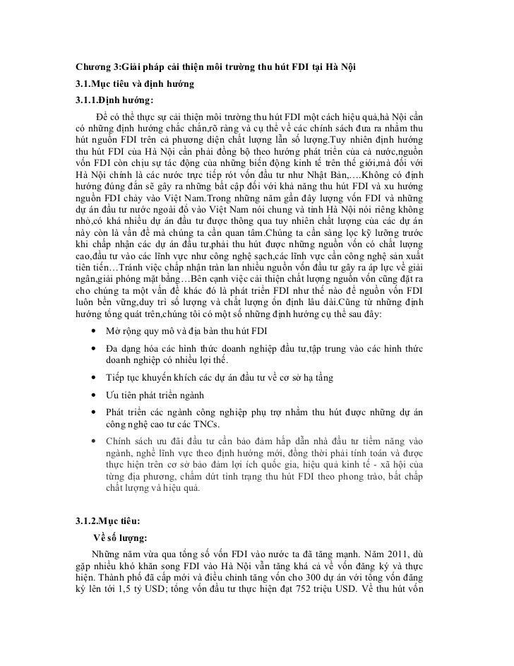 Chương 3:Giải pháp cải thiện môi trường thu hút FDI tại Hà Nội3.1.Mục tiêu và định hướng3.1.1.Định hướng:      Để có thể t...