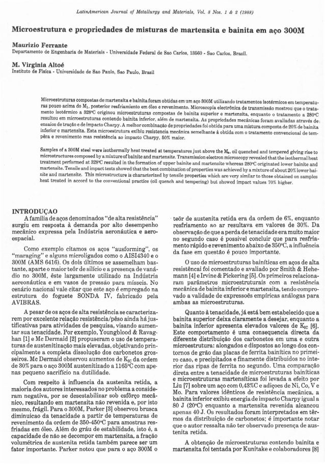 LatinAmerican  Journai o/ Metallurgy and Maierials, Vol. 8 Nos. 1 & 2 (1988)  Microestrutura e propriedades de misturas de...
