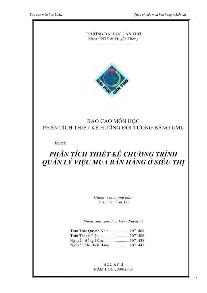 Báo cáo môn học UML                                                 Quản lý việc mua bán hàng ở Siêu thị                  ...