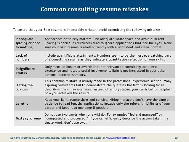 Bain Resume Sample – It Consultant Resume Examples
