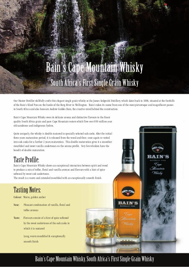 Bains cape mountain whisky fact sheet with visual for Bain s cape mountain whisky