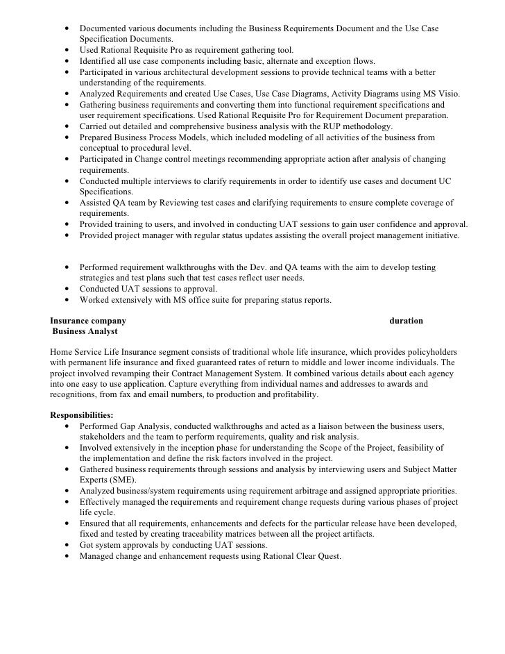 Business Analyst Resume for Insurance industry