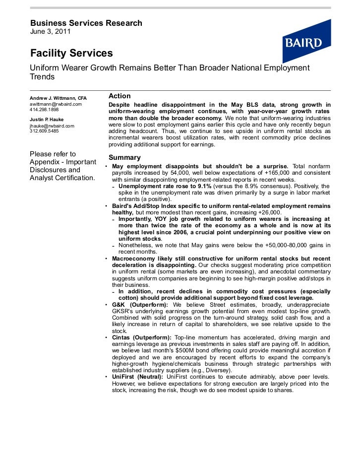 Business Services ResearchJune 3, 2011Facility ServicesUniform Wearer Growth Remains Better Than Broader National Employme...