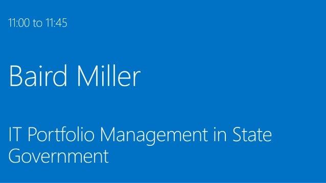 Baird Miller, DOL: IT Portfolio Management in State Government