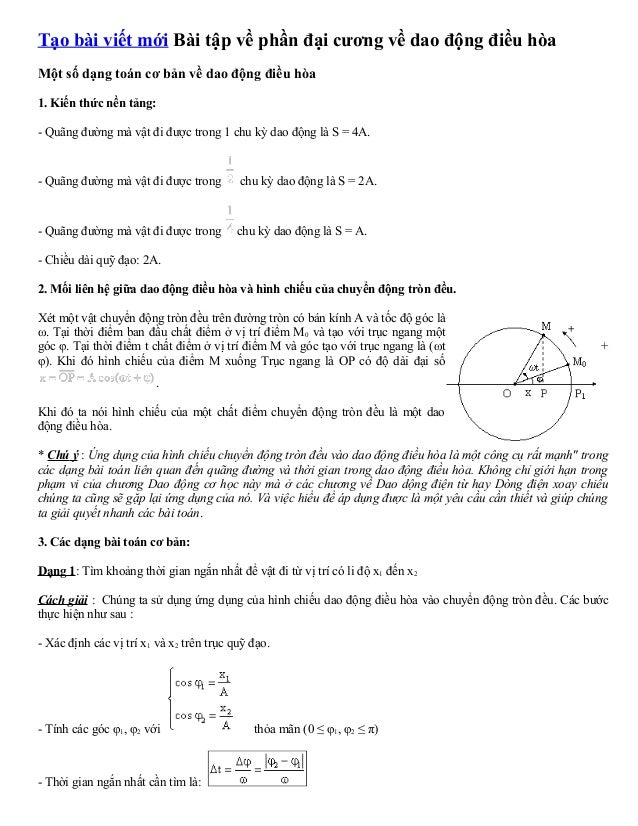 Tạo bài viết mới Bài tập về phần đại cương về dao động điều hòa  Một số dạng toán cơ bản về dao động điều hòa  1. Kiến thứ...