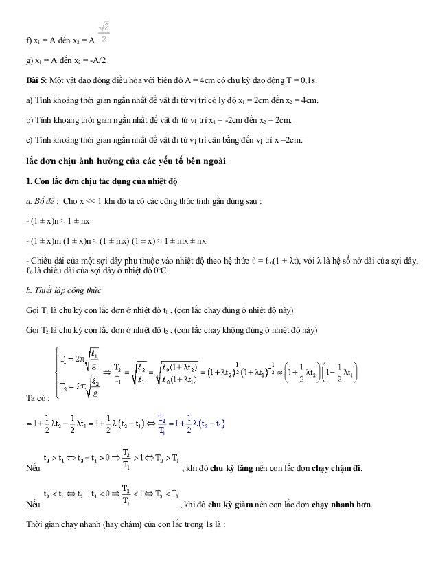 f) x1 = A đến x2 = A  g) x1 = A đến x2 = -A/2  Bài 5: Một vật dao động điều hòa với biên độ A = 4cm có chu kỳ dao động T =...