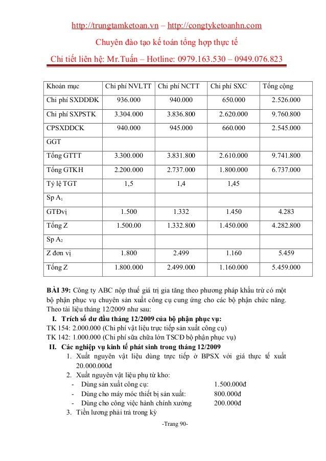 Bài tập kế toán chi phí có lời giải đáp án