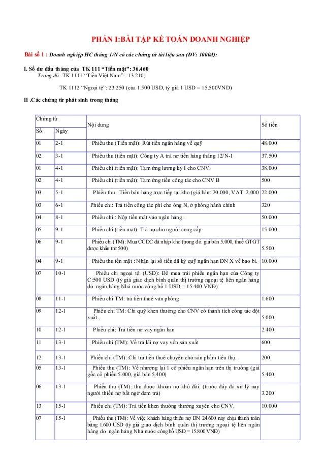 PHẦN I:BÀI TẬP KẾ TOÁN DOANH NGHIỆP Bài số 1 : Doanh nghiệp HC tháng 1/N có các chứng từ tài liệu sau (ĐV: 1000đ): I. Số d...