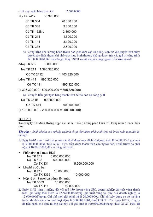 - Lãi vay ngân hàng phải trả          2.500.000đNợ TK 2412           33.320.000      Có TK 334                    20.000.0...