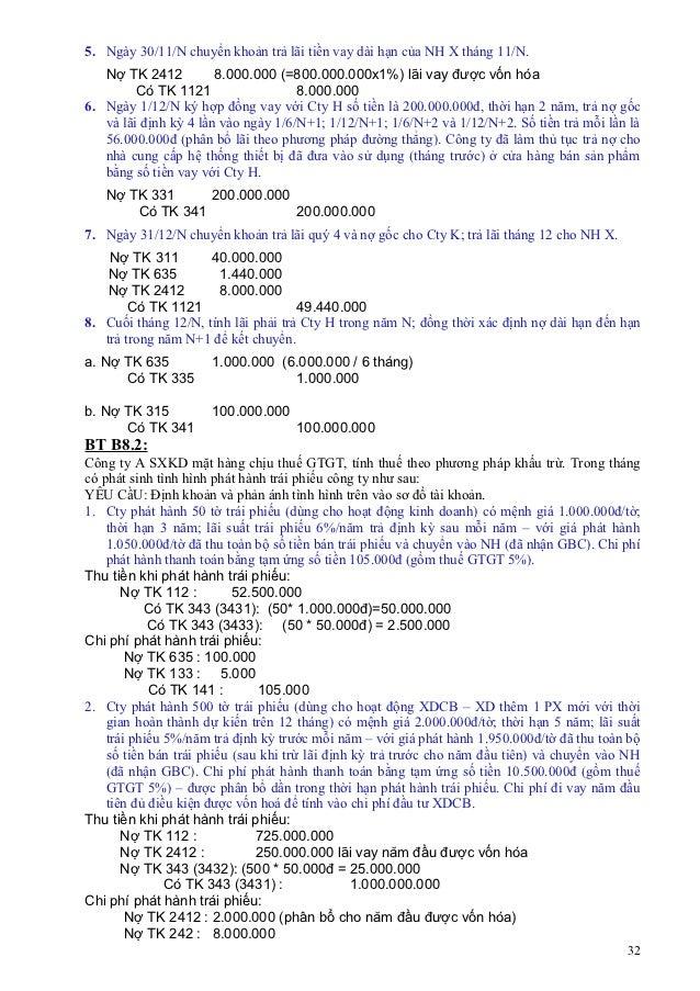 5. Ngày 30/11/N chuyển khoản trả lãi tiền vay dài hạn của NH X tháng 11/N.   Nợ TK 2412          8.000.000 (=800.000.000x1...