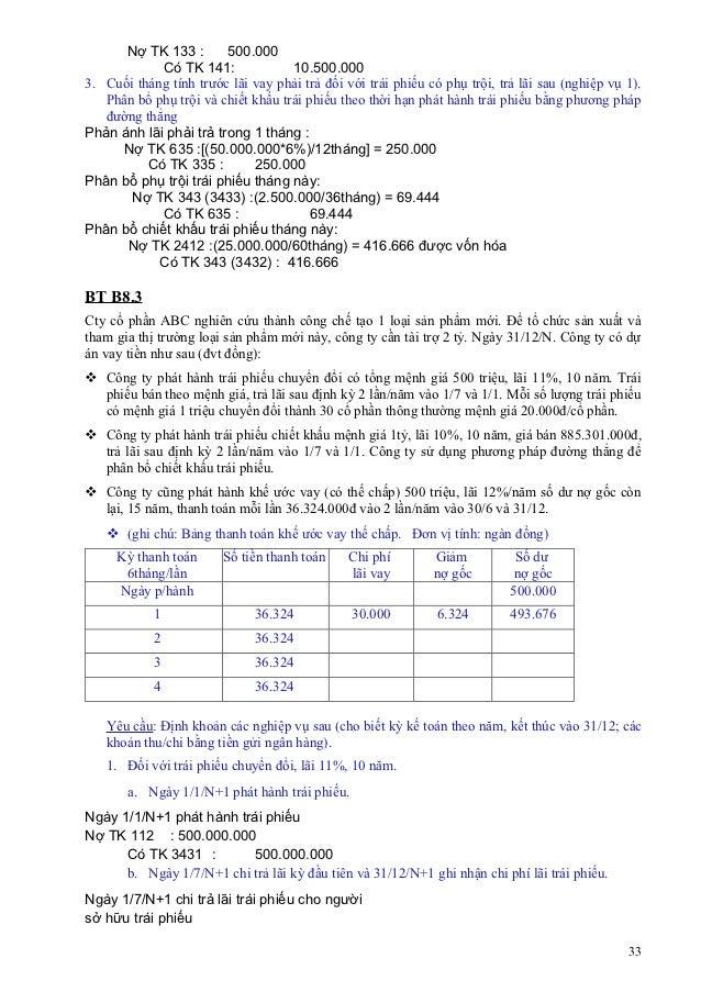 Nợ TK 133 :       500.000            Có TK 141:              10.500.0003. Cuối tháng tính trước lãi vay phải trả đối với t...