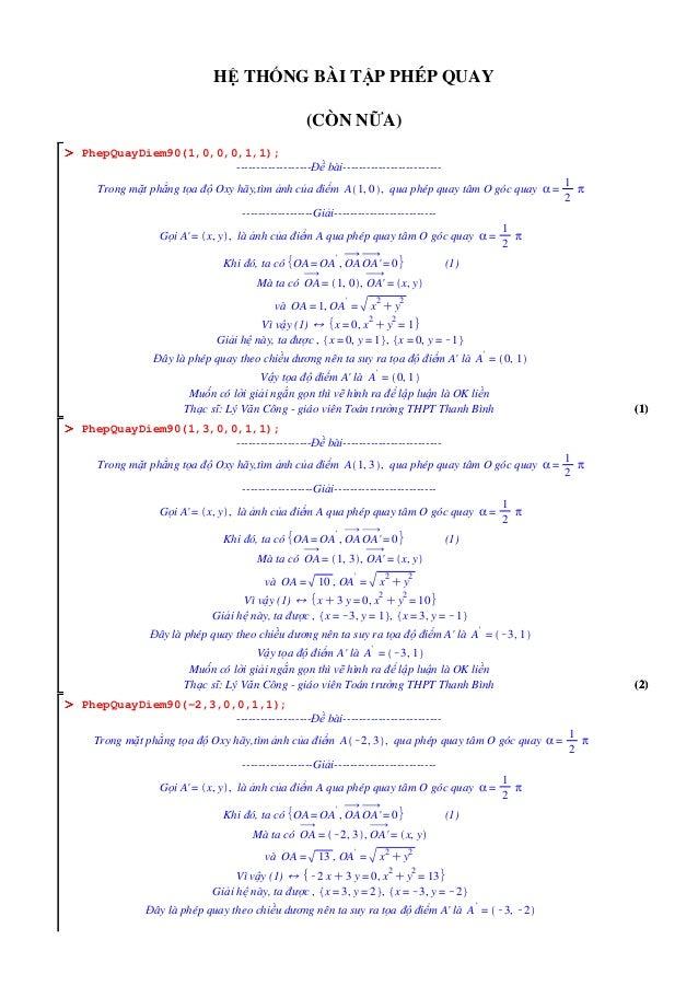 (2)(2) OOOOOOOO OOOOOOOO OOOOOOOO (1)(1) HỆ THỐNG BÀI TẬP PHÉP QUAY (CÒN NỮA) PhepQuayDiem90(1,0,0,0,1,1); ---------------...