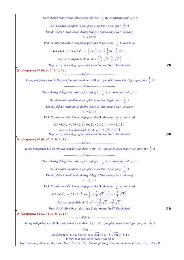 (11)(11) (10)(10) (9)(9) OOOOOOOO OOOOOOOO OOOOOOOO Ta có đường thẳng d tạo với trục Ox một góc , 1 4 π, có phương trình ,...