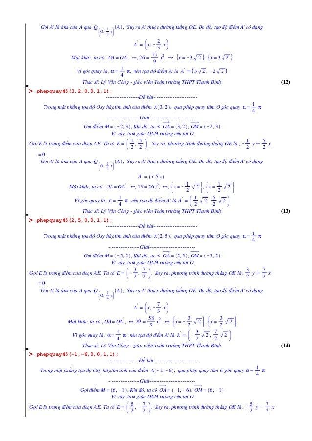 (12)(12) OOOOOOOO (14)(14) OOOOOOOO (13)(13) OOOOOOOO Gọi A' là ảnh của A qua Q O, 1 4 π A , Suy ra A' thuộc đường thẳng O...