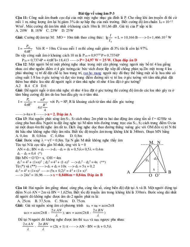 Bài tập về sóng âm P-3 Câu 11: Công suất âm thanh cực ...